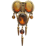 Drippy Topaz Rhinestones Dress Clip