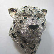 Rhinestones Paved Leopard Cat Pin or Pendant