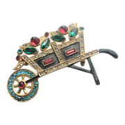 1930s-40s Enameled Flower Cart with Cabochons