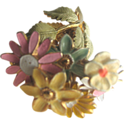Rare CASTLECLIFF Enameled Trembler Flowers Pin Brooch