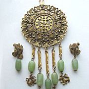 GOLDETTE Asian Oriental Motif Faux Jade Necklace or Pin & Earrings