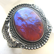 Native American Indian Fred Harvey Era Dragons Breath Sterling Cuff Bracelet