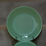 Fire King Jade-ite Jane Ray Dessert Bowl & Dinner Plate