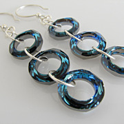 GORGEOUS & DAZZLING ! Bermuda Blue - Swarovski Crystal - Cosmic Rings - Dangle Earrings