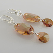 GORGEOUS - SUN CATCHING - Crystal Copper - Swarovski Crystal - Owlet - Dangle Earrings