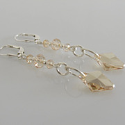 GORGEOUS & DAZZLING ! Golden Shadow - Swarovski Crystal - Rhombus - Dangle Earrings