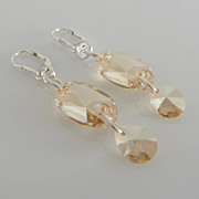 GORGEOUS - SUN CATCHING - Golden Shadow - Swarovski Crystal - Owlet - Dangle Earrings
