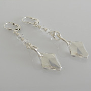 GORGEOUS & DAZZLING ! Silver Shade - Swarovski Crystal - Rhombus - Dangle Earrings