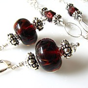 Deep Red Boro Glass Lampwork Beaded Focal, Swarovski Crystal, Sterling Silver Necklace & Match