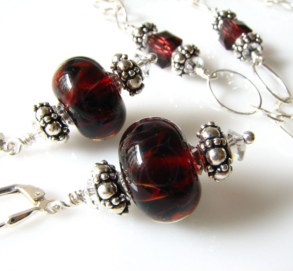Deep Red Boro Glass Lampwork Beaded Focal, Swarovski Crystal, Sterling Silver Necklace & Matching Earrings - Wearable Art - FREE U.S. SHIPPING!