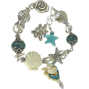"SOLD Beads Etc - ""SEA CREATURES"" Sterling Silver Artisan Bracelet"