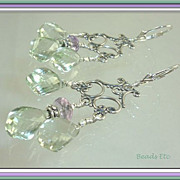 SOLD ~ Green & Pink Amethyst ~ Sterling Chandelier Earrings