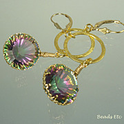 SOLD 24.50ct Rainbow Mystic Topaz 24k Gold Vermeil Earrings