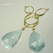 SOLD ~ 46.50ct Aquamarine Quartz ~ Vermeil Earrings