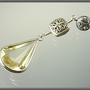SOLD 34.89ct Fancy Cut Lemon Quartz Sterling Earrings