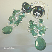 Green Apatite Cluster & Art Glass Sterling Earrings