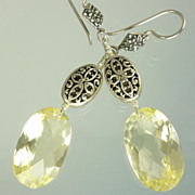 22.80ct  Lemon Quartz & Balinese Sterling Earrings