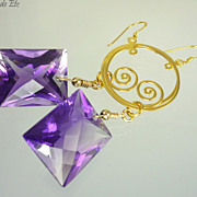 SOLD 46.60ct  AAA Shaded Amethyst 24k Gold Vermeil Earrings