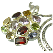 Multi Gemstone Pendant & Balinese Sterling Necklace