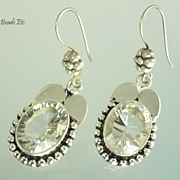 Flawless White Topaz Balinese Sterling Earrings