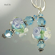"""Spring Garden""  Art Glass & Sterling Earrings"