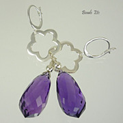 38.68ct Amethyst Sterling Silver Earrings
