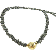 SOLD Beads Etc ~ 21ctw Raw Black Diamond & Solid 14k Gold Necklace ~
