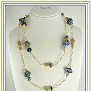"SOLD ~ Rhinestone Cowboy ~ 42"" Lampwork & Vermeil Necklace Set"
