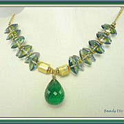 SALE 20% Off ~ Flawless Green Amethyst & 22k Gold Vermeil Necklace