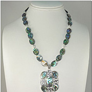 SALE 20% OFF ~Abalone Sterling Silver Necklace~