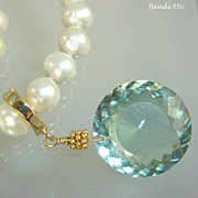 SOLD 21ct Flawless Green Amethyst & Freshwater Pearl Necklace