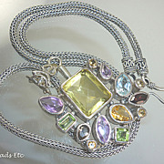 SOLD Multi Gemstone Pendant & Balinese Sterling Necklace