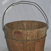 Primitive Antique Wooden Berry Bucket or Pail In Old Red Paint