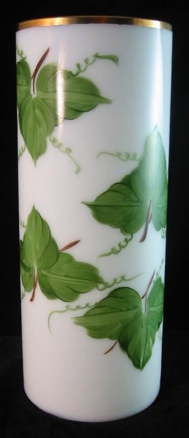 Consolidated Milk Glass Cylinder Vase with Ivy Decoration