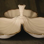 Lenox Three-Part Scallop Shell Handled Tidbit