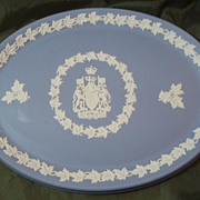 Wedgwood Jasper Ware Light Blue Vanity Tray - Canadian Coat of Arms