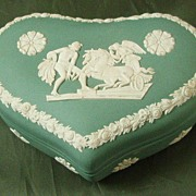 Wedgwood Teal Jasper Ware Heart-Shaped Box