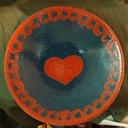 Ned Foltz Pottery Redware Heart Plate - Large