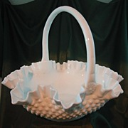 Fenton Milk Glass Hobnail Twelve Inch Basket