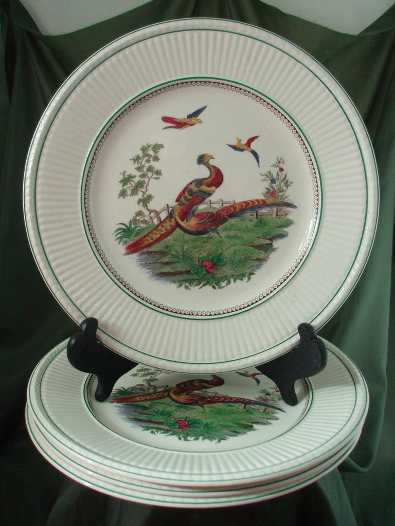 Wedgwood Liverpool Birds on Edme Shape Queens Ware Plates