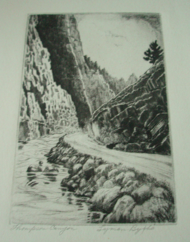 Lyman Byxbe Etching - &quot;Thompson Canyon&quot;