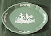 Wedgwood Sage Green Jasper Ware Silver Shape Sweet Dish