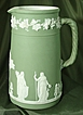 Large Wedgwood #6 Sage Green Upright Dip Jasper Ware Jug