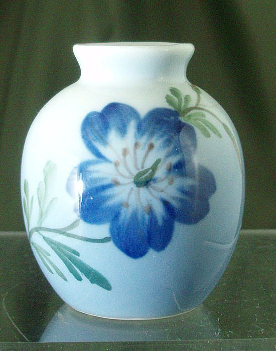 Royal Copenhagen Miniature Vase with Blue Flower