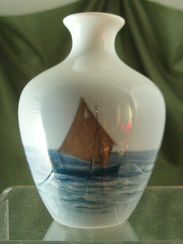 Royal Copenhagen Miniature Vase with Sailboat