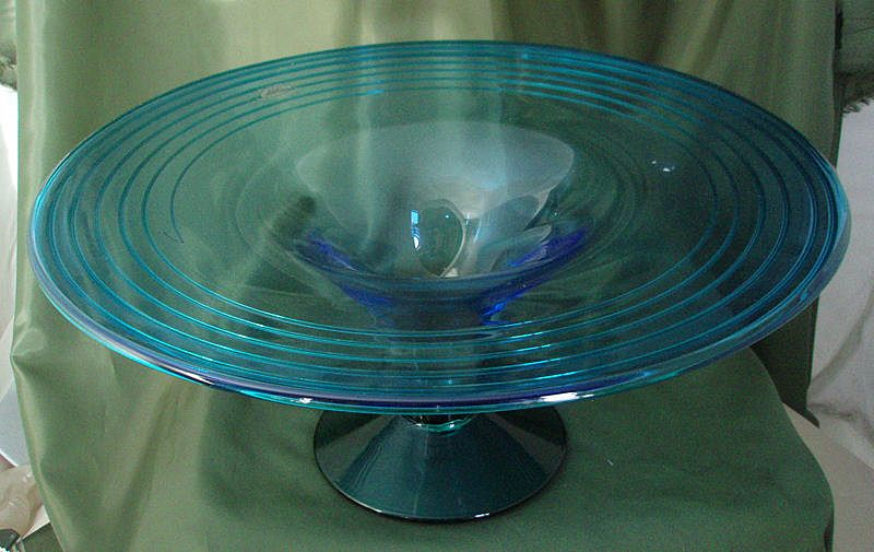 Blenko #9826 Azure & Emerald Footed Bowl or Compote