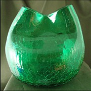 Rainbow Glass Emerald Crackle Pinched Ivy Ball Vase