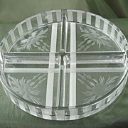 Westmoreland Round Four-Part Wheel-Cut Relish Dish