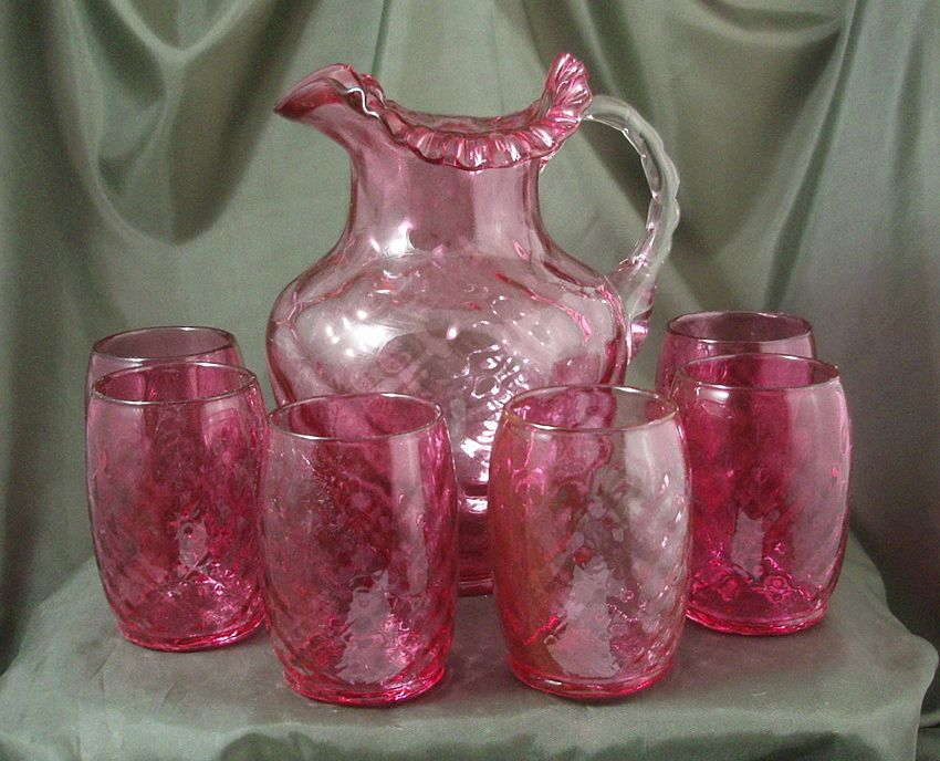 Fenton Ruby Overlay Diamond Optic Water Set