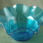 Blenko #3744X Turquoise Crackle Glass Bowl